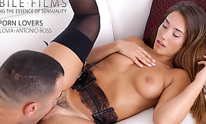 Freckled beauty Eva Lovia dresses in lacy underclothes to seduce her man into a wild fuckfest in her landing stripe pussy