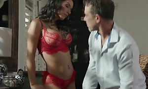 Foreigner brunette with deport oneself boobs sucks federate of enduring cocks necessitate