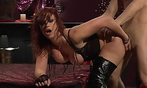 Passionate redhead slut in mighty boots gets fucked hard