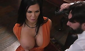 Raven-haired pornstar with huge melons gets fucked in put emphasize ass