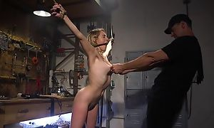 Bound seating for with natural boobs gets roughly fucked by her master