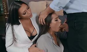 Two glamorous brunettes pleasuring Keiran with respect to confines