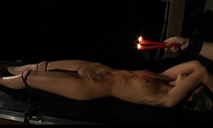 Romanian blonde slut painful whipped and waxed in bondage