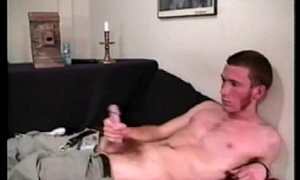 Solo playing straight twink jerks cock