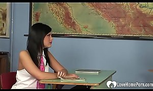 Instructor fucks a gorgeous amateur schoolgirl beauty