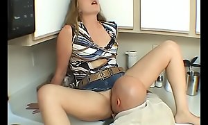 Mediocre Couple is having hot sexual intercourse , he licks her on usually side orgasm