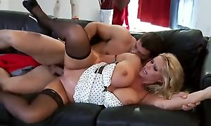Succulent MILF sucks increased by fucks Ramon's load of shit until she gets facial reward