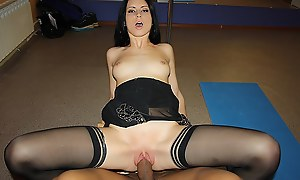 Hot brunette girl get fucked by two apropos a dance studio